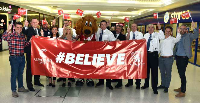 The Cleveland Centre are linking up with the MFC Foundation to drum up support for Middlesbrough FC before their vital match against Brighton on the last day of the season.  24/4/15  Pic Doug Moody Photography.