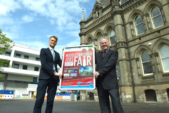 Pictured ahead of the Middlesbrough Town Hall Jobs Fair are Mark Winter, General Manager of Middlesbrough's Holiday Inn Express and Cllr Charlie Rooney, Deputy Mayor of Middlesbrough and Executive Member for Regeneration.