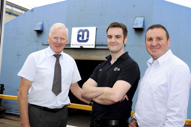 KTP Barry Moore (centre), with Keith Bell of Mech Tool and Ruben Pinedo-Cuenca, academic supervisor, Teesside University