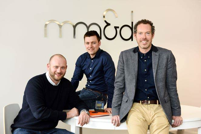 Mm&d management team, Digital Director Mark Skirving, Business Development Manager Owain Jenkins and Design Director Gavin Hatton.