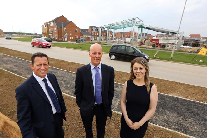 Professional advisers at Sandgate Park, the new retail centre under construction in Ingleby Barwick. (l-r) Richard Wilson of Dodds Brown, Andrew Wilkinson of Connect Property North East and Alexandra Ketchley of Endeavour Partnership. Photographer/Byline Dave Charnley Photography www.davecharnleyphotography.com
