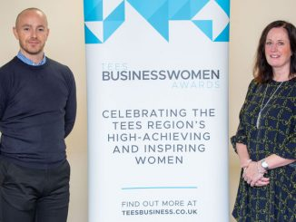 Punch Robson Solicitors sponsor 2020 Tees Businesswomen Awards - Elaine McLaine-Wood with Chris Garbutt